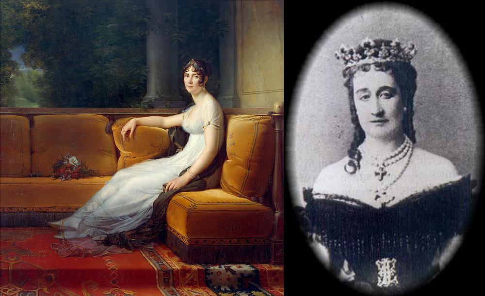 Left:Portrait of the Empress Joséphine, by François Gérard  Right:Daguerrotype of Empress Eugénie