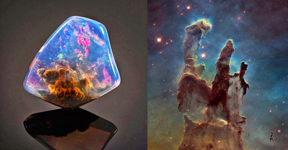 Left:  The Luz Opal of Oregon , found in 2014, and sold at auction for $20,000 in May of that year.  Right:  The Pillars of Creation , Image taken on April 1, 1995 from NASA's Hubble telescope. The pillars are made of gases and debris from the Eagle Nebula and is some 7,000 light years from Earth.