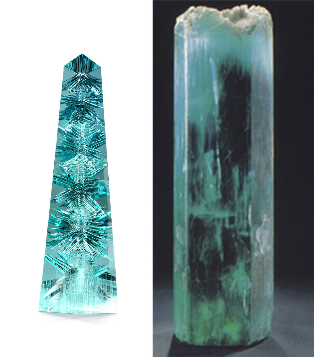 The Don Pedro aquamarine, both in the rough crystal form (right) and in it's carved and fantasy-cut obelisk (left)