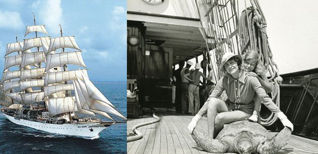Left: Upon marrying Joseph E. Davies, Marjorie renamed her Yacht  Sea Cloud,  from its original, 1931 name  Hussar V . Right: Marjorie with her only child from her 16 years with Ed Hutton, Nedenia, who went on to a glamorous life of her own in the dramatic arts as an actress of stage and screen, changing her name to Dina Merrill.