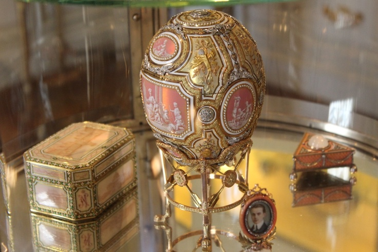 The Catherine the Great Easter Egg by Carl Fabergé. Originally gifted to the Tsarina Maria Feodorovna from her son Tsar Nicholas II in 1914. This egg was purchased by Eleanor Close Post, and given to her mother Marjorie in 1931, starting her collection of Russian imperial object.