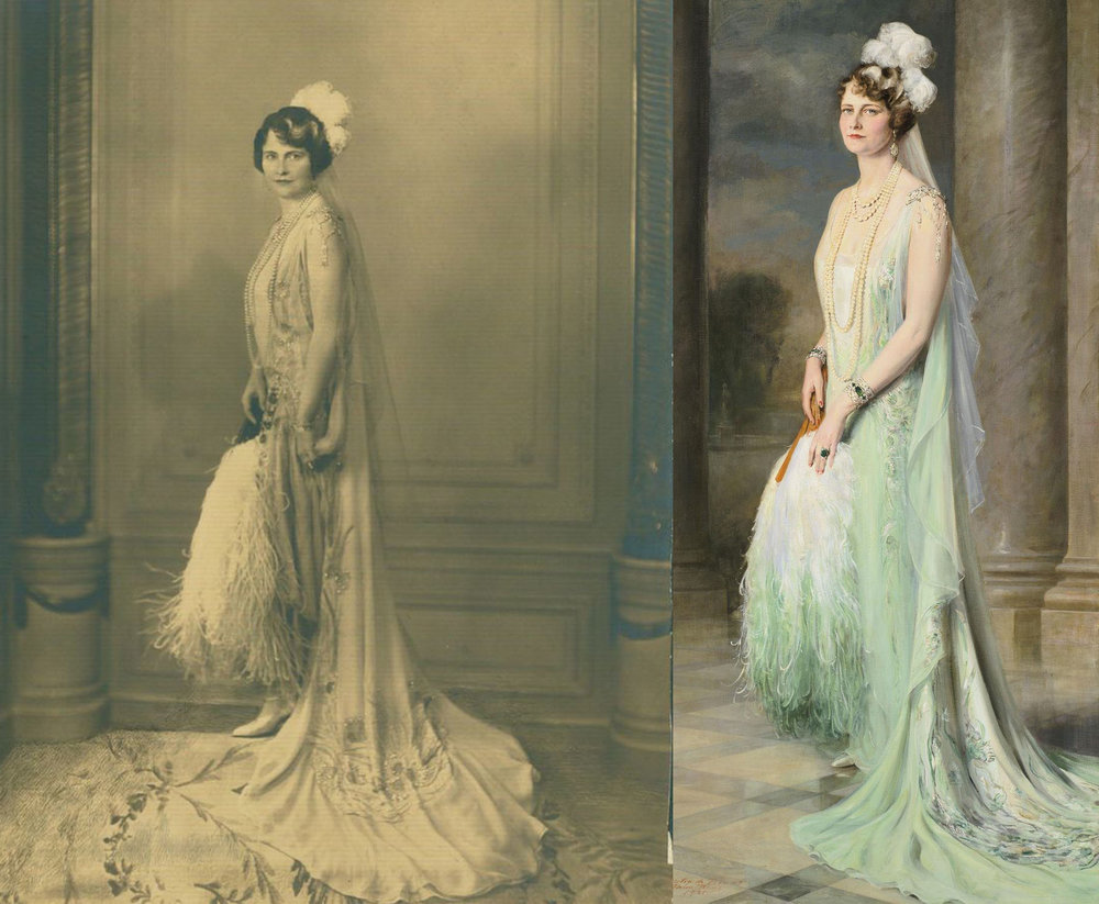 Left: A photograph of Majorie the day she was presented to King George V and Queen Mary at the Court of St James on June 26 1929. Right: Probably the most recognizable painted portrait of Marjorie, by Giulio de Blaas, memorializing that day, finished in 1931.