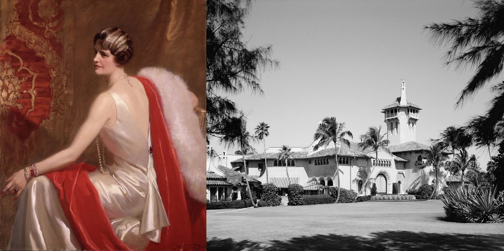 Left: Portrait by Frank O. Salisbury 1934. Right: The Mar-a-lago estate Palm Springs FL 1928