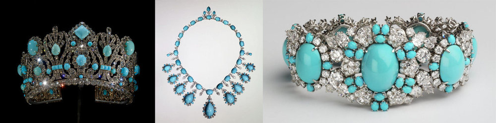 Left: Diadem by Eitienne Nitot et Fils, set with 79 Persian turquoise stones that total 540 carats, and 1006 old mine-cut diamonds that total a whopping 700 carats, all set in 18 karat gold that is topped with sterling silver. Center: Set with 38 pear-shaped diamonds, 262 round diamonds, with 90 oval and pear shaped cabochon Persian turquoise stones, all set in platinum. by Harry Winston 1961. Right: A bracelet comprised of 50 oval cabochon Persian turquoise stones, 138 round diamonds, and 32 pear shaped diamonds all set in platinum. by Harry Winston, 1961.