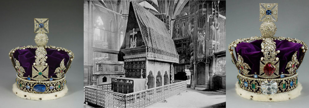 Left: The imperial crown of Queen Victoria, 1838. Center: The chapel and shrine of St. Edward the Confessor at Westminster Abbey. Right: The imperial crown of Queen Victoria, after 1909, was set with the Cullian II diamond, at which point the Stuart sapphire was re-set in the reverse of the crown.