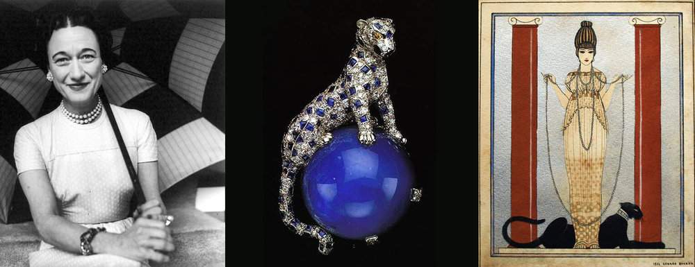 Left: Wallis Simpson, the Duchess of Windsor. Center: In 1949 the Duchess purchased this Pantheré brooch from Cartier. The white gold and platinum clip features a 152.36 carat Kashmir cabochon-cut sapphire. Right: The original panther advertisement illustration for Louis Cartier (Jr) and Bros. by George Barbier in 1914.