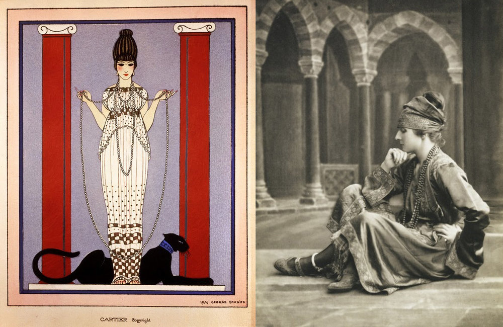 Left: George Barbier, Pantheré, 1914 Right: A portrait of Jeanne Toussaint in the 1920's