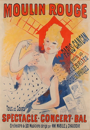 Moulin Rouge ,  Paris, Cancan , Poster, 1890, by Jules Chéret