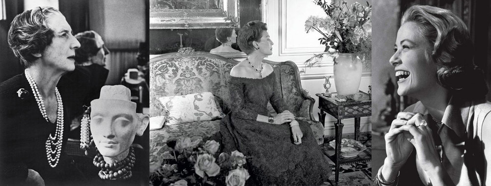 Left: Jeanne Toussaint, 1950's. Center: Countess Mona von Bismarck 1958, photographed by her dear friend Cecil Beaton while wearing her carved emerald and diamond bracelet, emerald and diamond cluster necklace and clip-on earrings from Cartier. Right: Princess Grace Kelly in a 10.47ct Cartier diamond engagement ring, given to her by Prince Rainier, designed by Cartier under Jeanne Toussaint.
