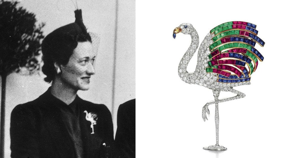 Wallace Simpson, the Duchess of Windsor in her Flamingo brooch.