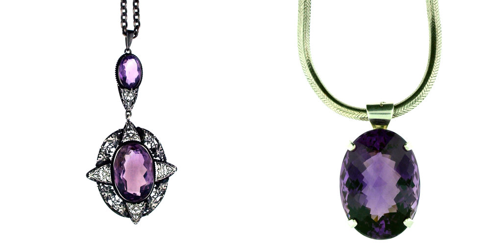 Left: A sterling silver and amethyst pendant necklace from the 1920's. Right: an incredible, 230 carat faceted oval amethyst set in silver, and shown on a handmade serpent chain.