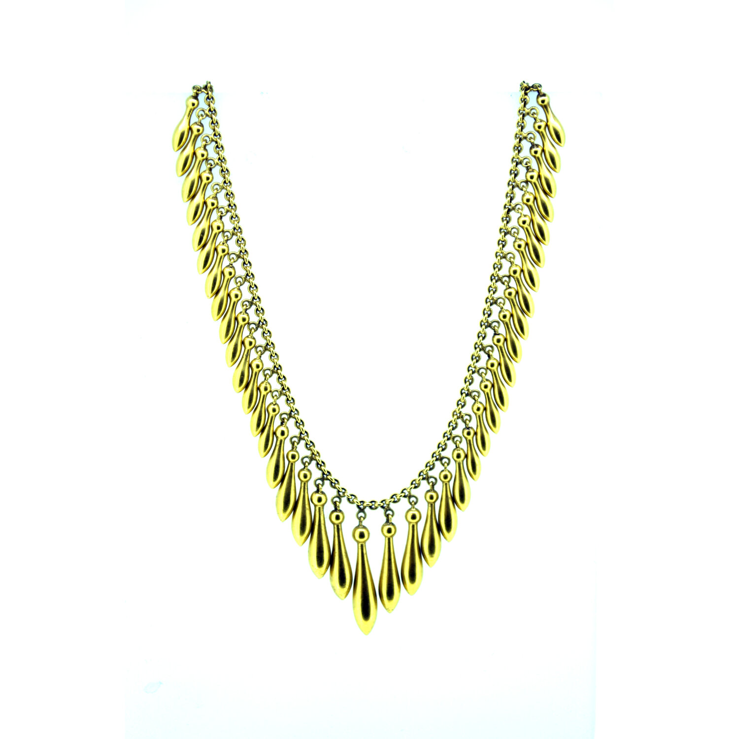 1940s Etruscan Revival brass and glass bead fringe 19 inch necklace nlvn870