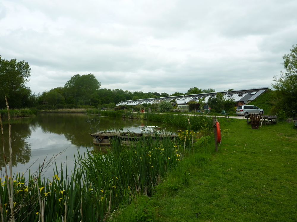 Hockerton Housing Project, overlooking the water treatment pond.