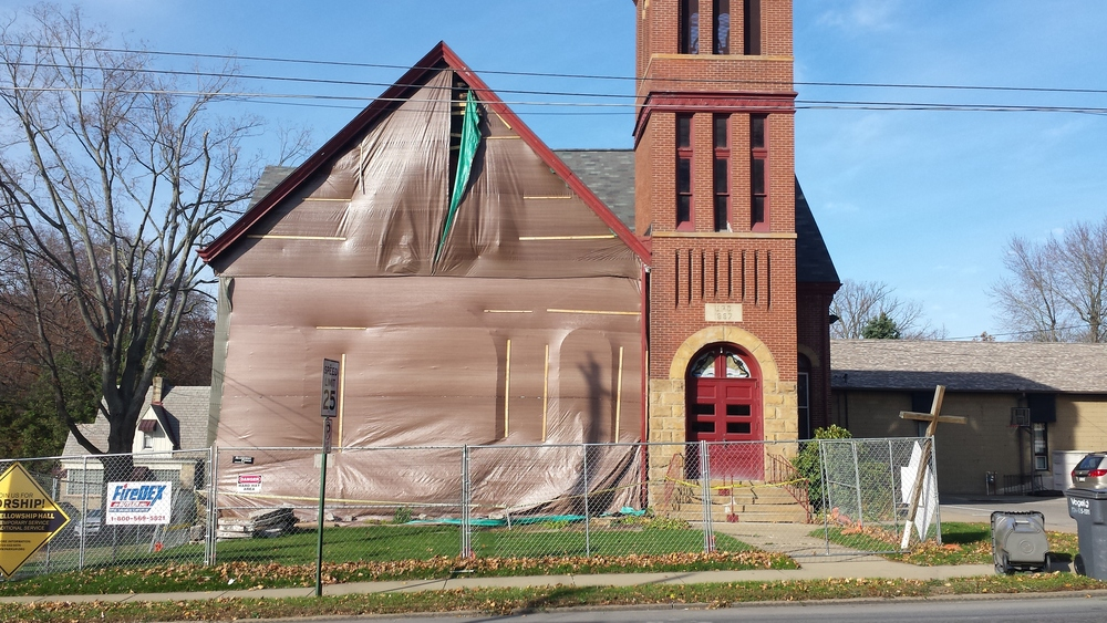 Exterior view of the Park United Presbyterian Church in Zelienople, PA (at start of construction).