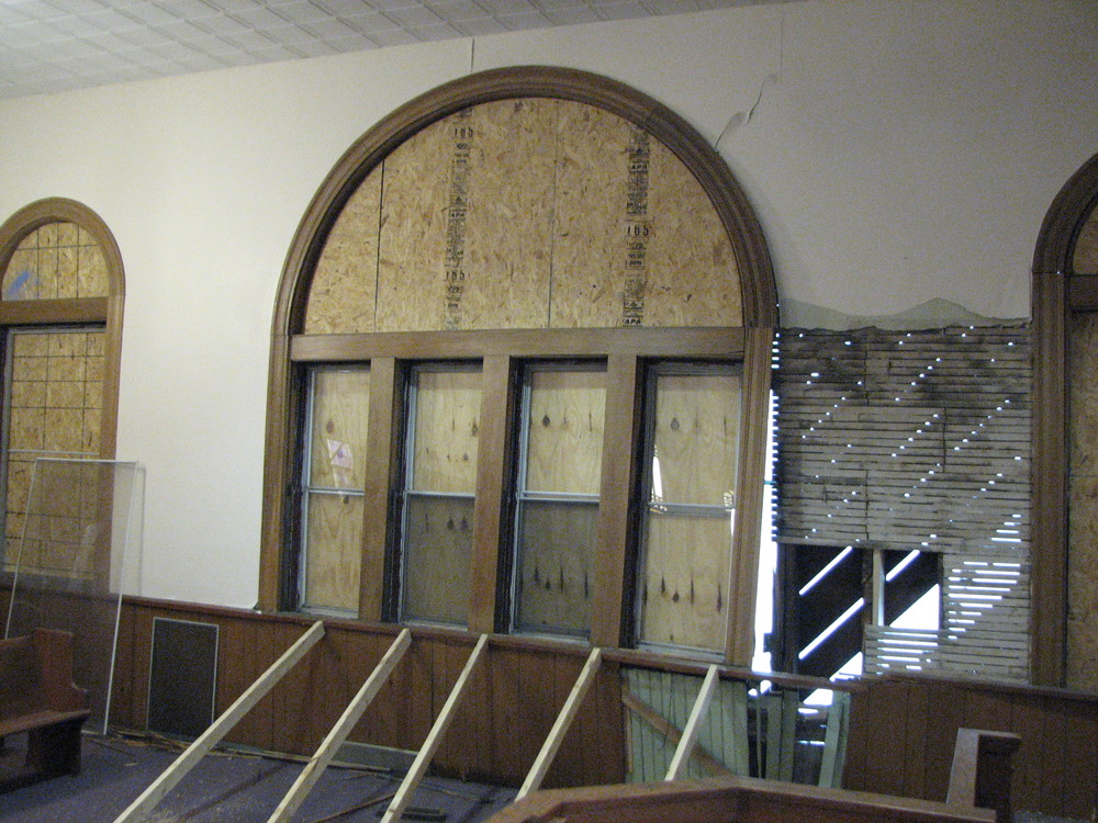 Interior view of the sanctuary (at start of construction).