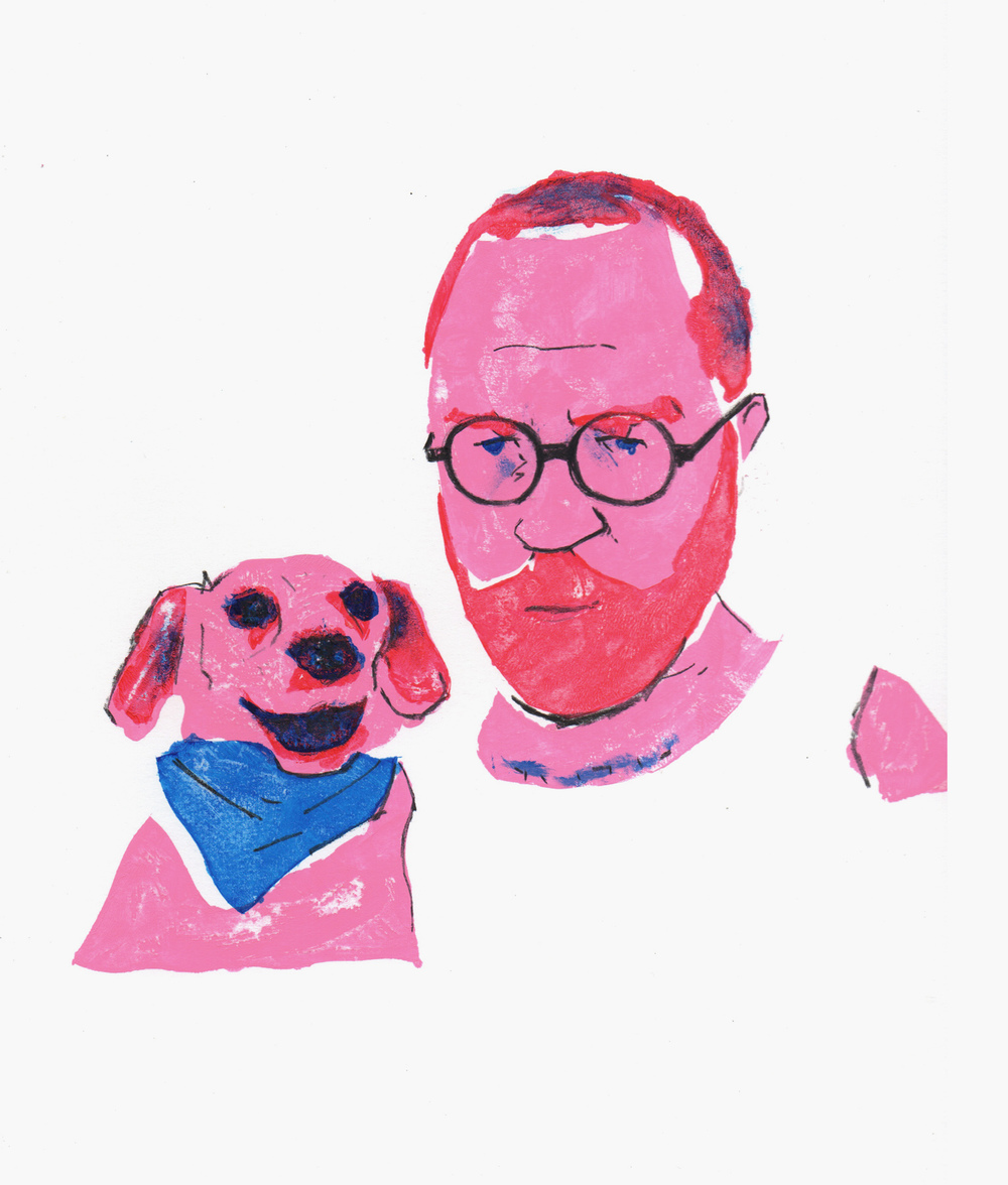 """Self Portrait with my dog Clever"" — This is a favorite because it was the first portrait I did in this series and I think it really captures little dude's expression. He is a living Harvey Ross Ball drawing."