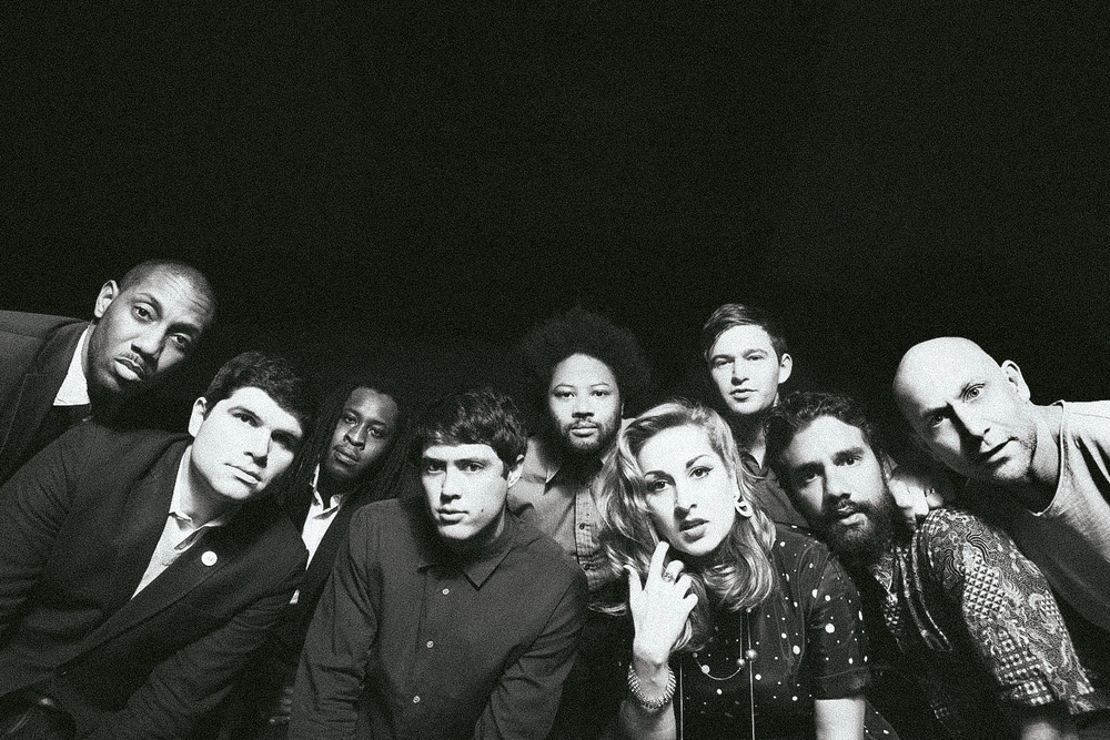 Midnight Magic (left to right): Nick   Roseboro   (trumpet), W. Andrew Raposo (bass), Jason Disu (trombone), Morgan Wiley (keyboards), Carter Yasutake (trumpet), Tiffany Roth (vocals), Max Goldman (drums), Caito Sanchez (percussion), Andrew Frawley (percussion) — Credit Mari Juliano