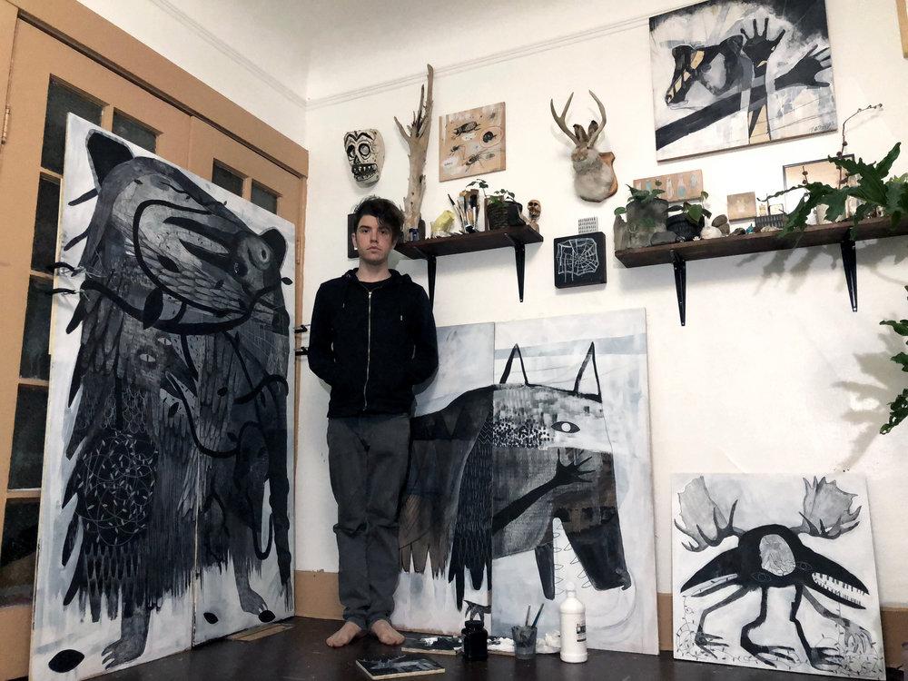 Jesse in their home studio in Portland
