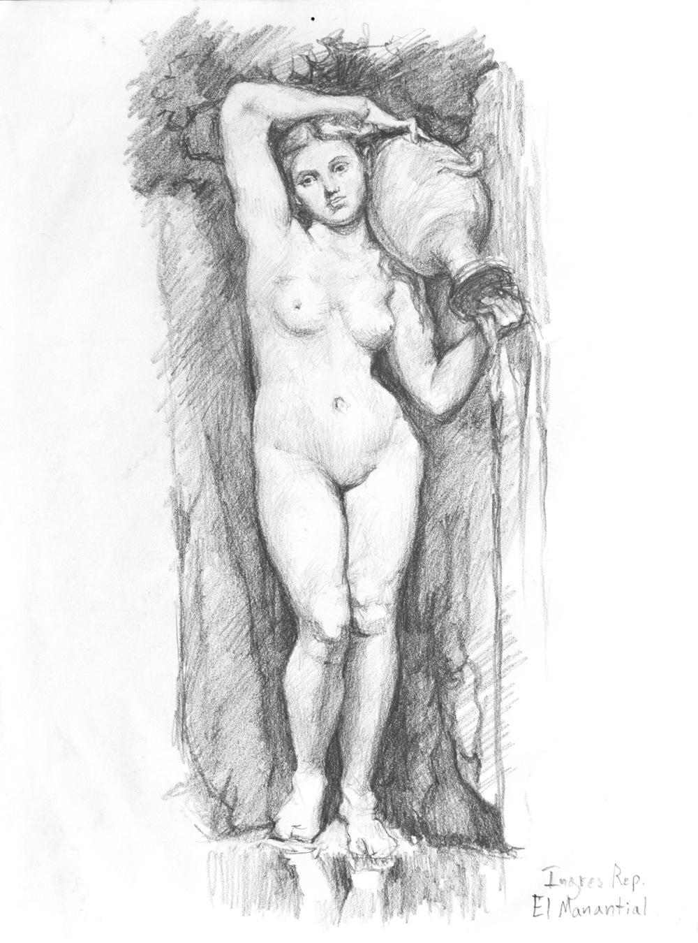 """El Mantial"" - 8.5"" x 11""graphite on paper, Ingres copy. 2012"