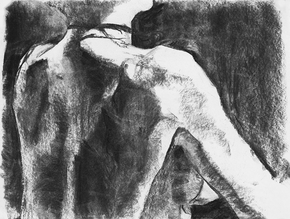 """The Mistress pt. 3"" - 9"" x 12"" charcoal on paper, from life. 2014"
