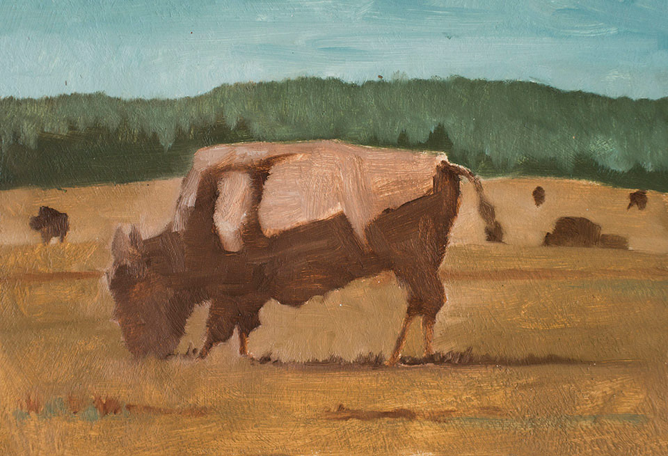 """Golden Shaggy Beasts"" - 9"" x 12"" oil on primed paper. 2016. Created on a painting road trip across the US."