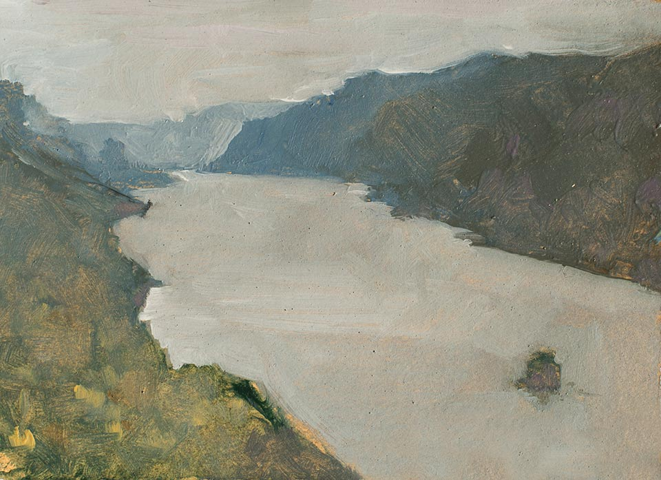 """Beacon Rock and the Columbia"" - 6"" x 4"" oil on primed paper. 2016. Created on a painting road trip across the US."