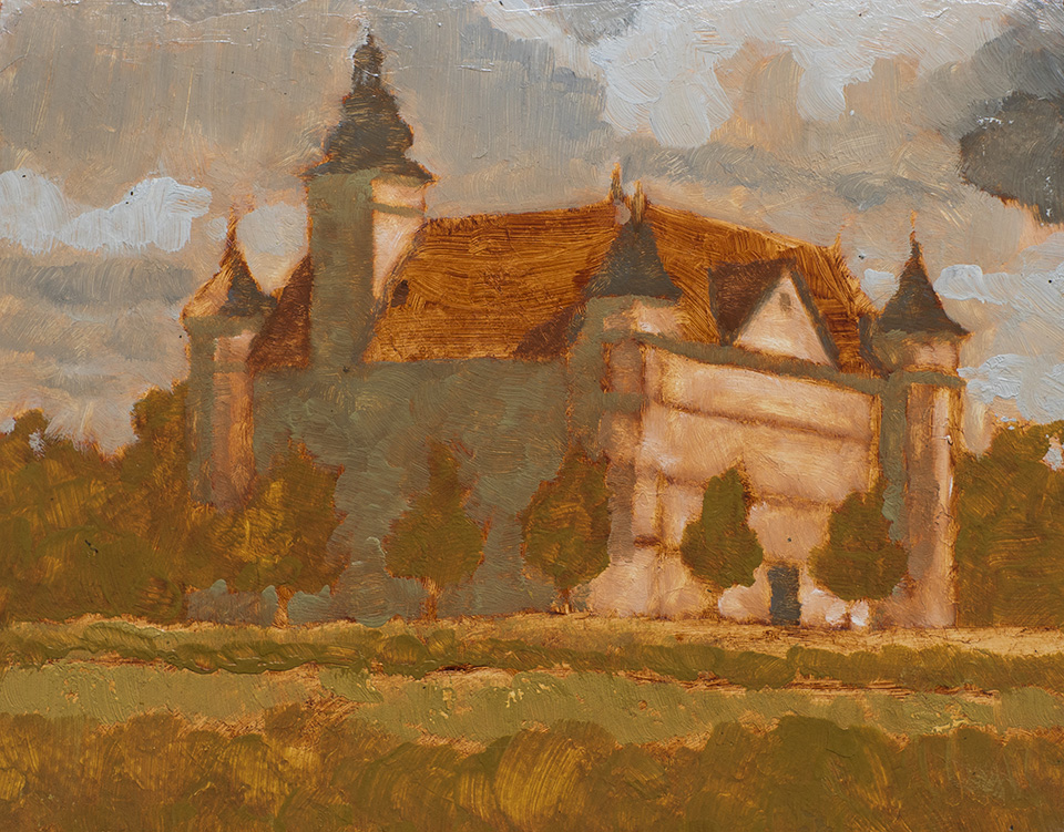 """Schloss Hartheim"" - 9"" x 12"" oil on primed paper. 2017. Created while hitchhiking for two months across eleven countries."