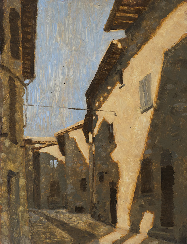 """Italian Shade"" - 9"" x 12"" oil on primed paper. 2017. Created while hitchhiking for two months across eleven countries."