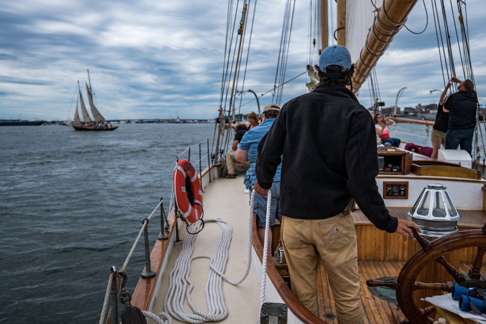 """Captain & crew setting sail on Wendameen during the 2017 SchoonerFest and Regatta"""