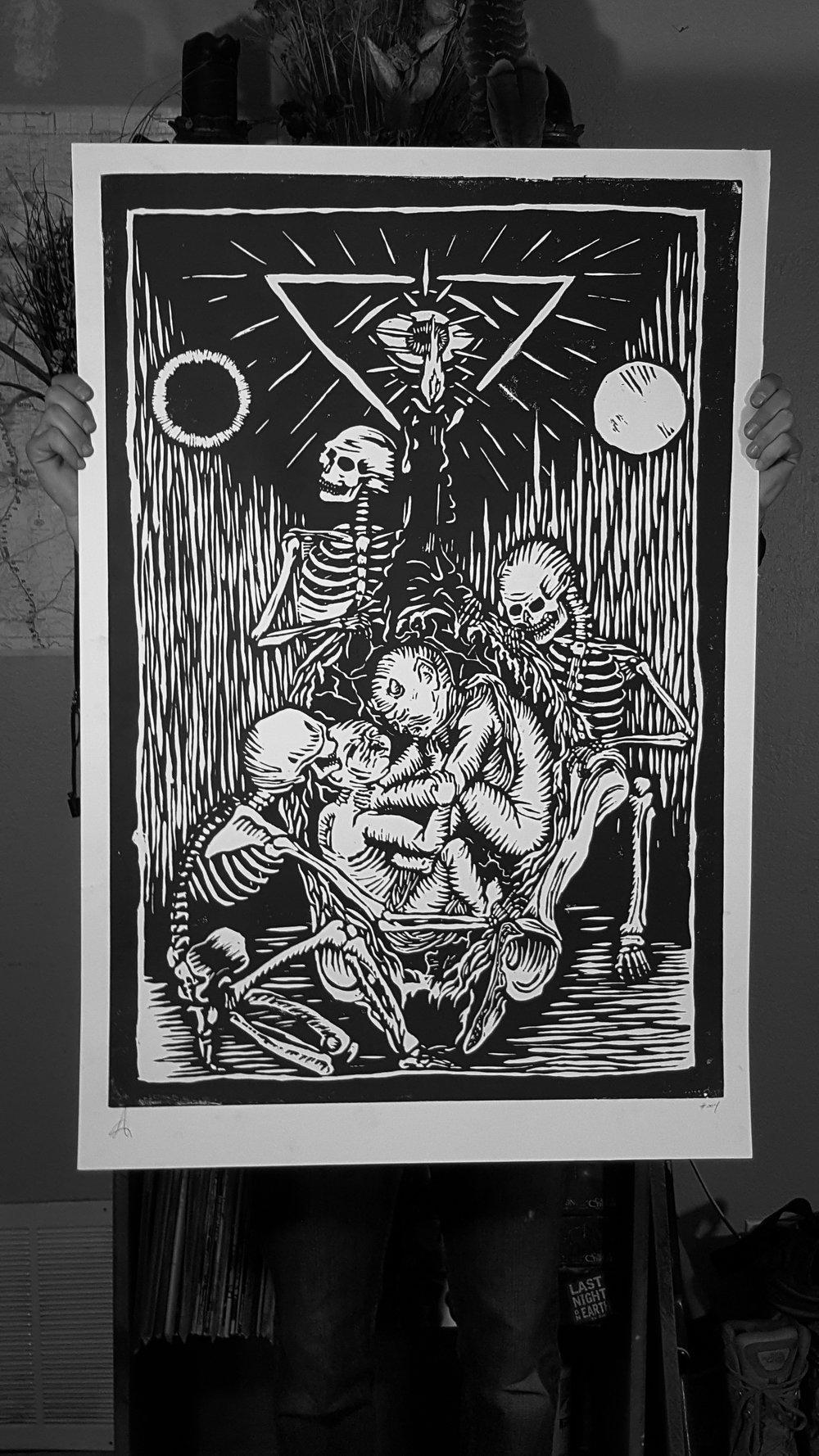 TRIO , wood block print 2015