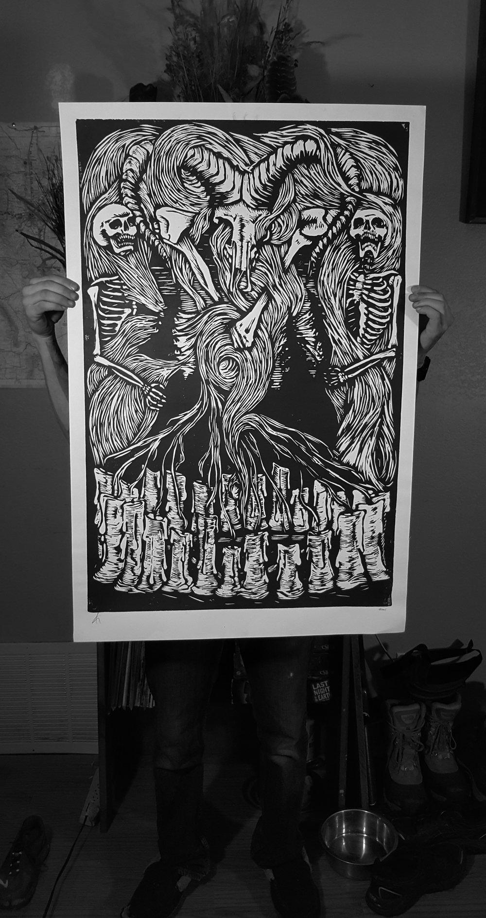 SMOKE , wood bock print 2015