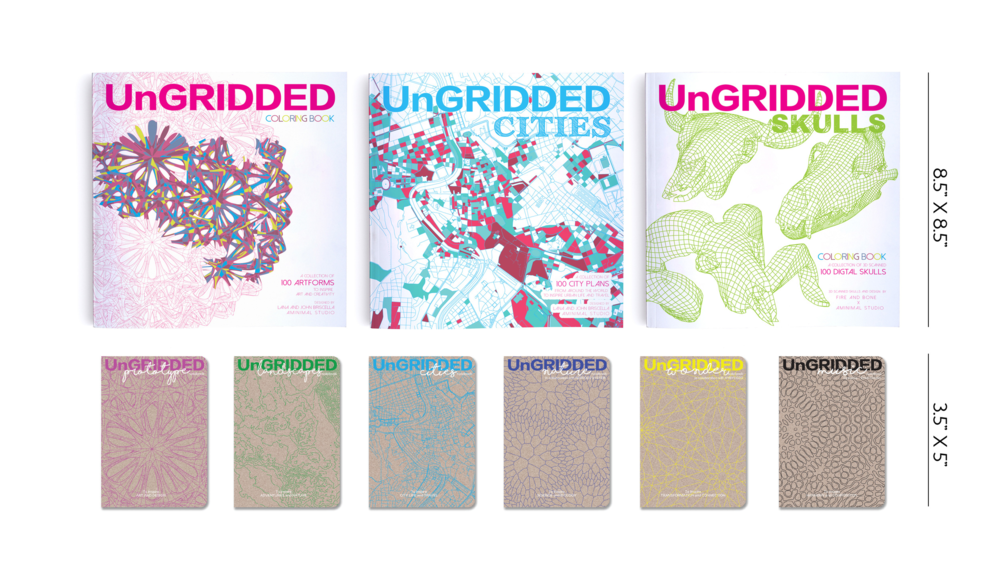 CURRENT COLLECTION -   UnGRIDDED 001 coloring book   /   UnGRIDDED CITIES   /     UnGRIDDED SKULLS   /   UnGRIDDED Notebook SERIES I &      II