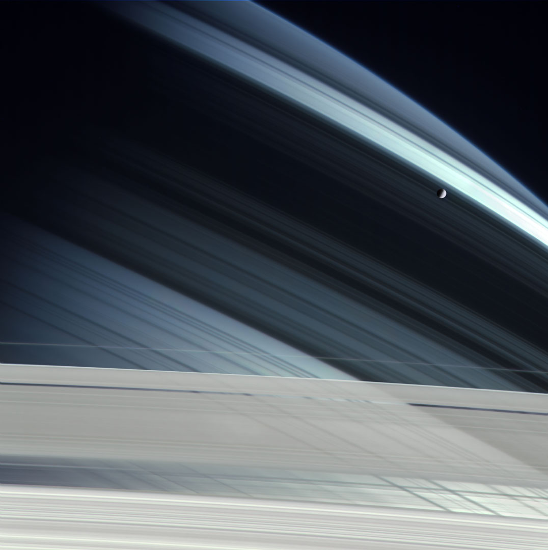 Mimas Over Saturn.  Cassini, November 7, 2004.  2011.