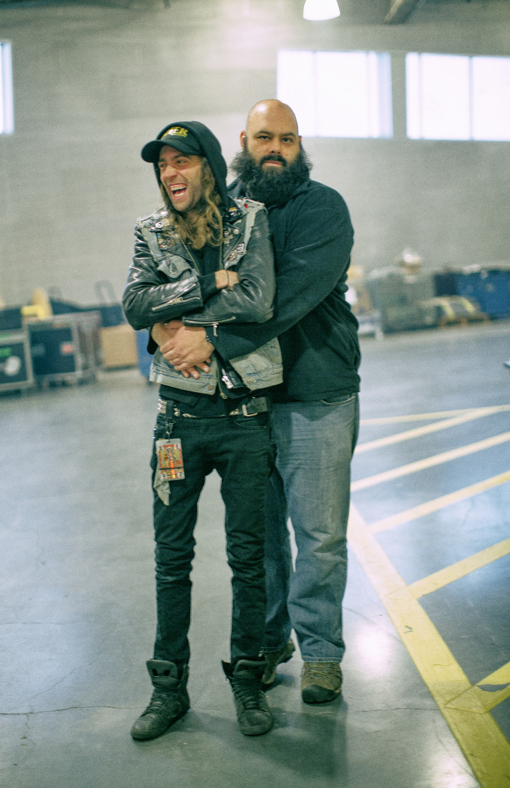 Matt embraces Andy backstage in preparation of a nights work.