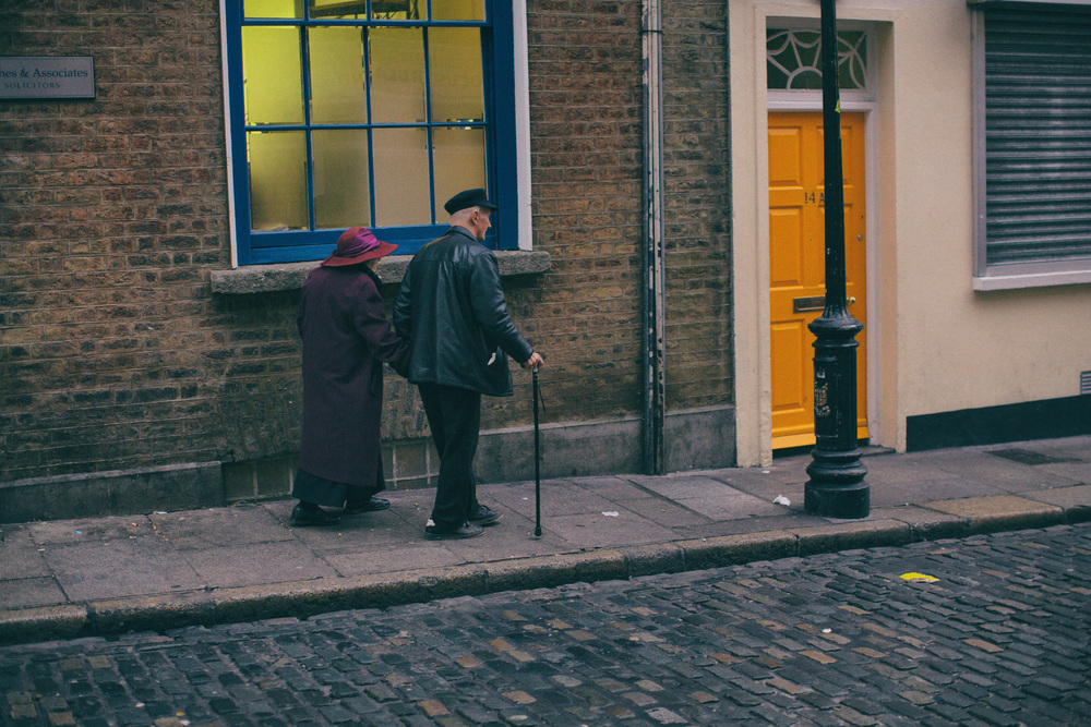 Hats Off Two You Rushing to see a showing of The Grand Budapest Hotel in Temple Bar, I saw this in passing and couldn't help but steal a shot. The color in the windows and doors along with the different textures makes it more interesting.