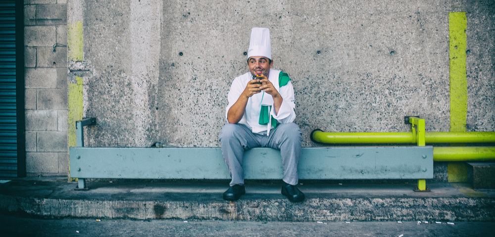 "I saw this gentlemen down an alley walking back from a shoot on Toronto Island. I walked up, dropped to a knee, framed up a shot, and asked for a picture. He said ""I don't think you want to do that."" Click.  Too late, Chef."