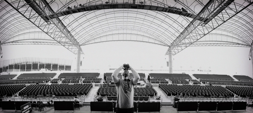 One of my favorite parts of being a tour documentarian is taking pictures of the setup. Here's a rare B&W shot from the second show of The Great American Roadtrip in Tampa, FL.