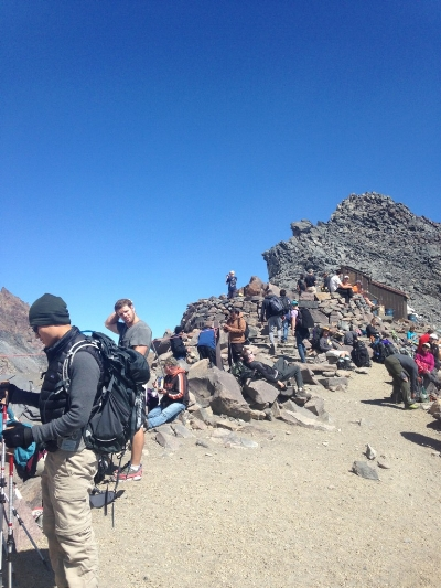 Climbers preparing for the next leg of their Mt. Rainier ascent. Photo: Chelsea Westerlund.