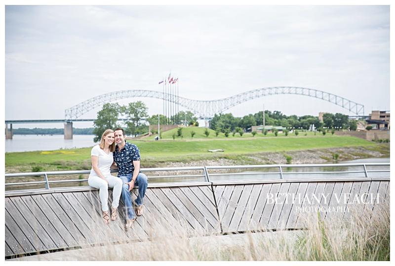 beautiful memphis bridge engagement portraits