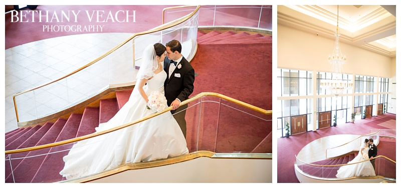staircase bride and groom