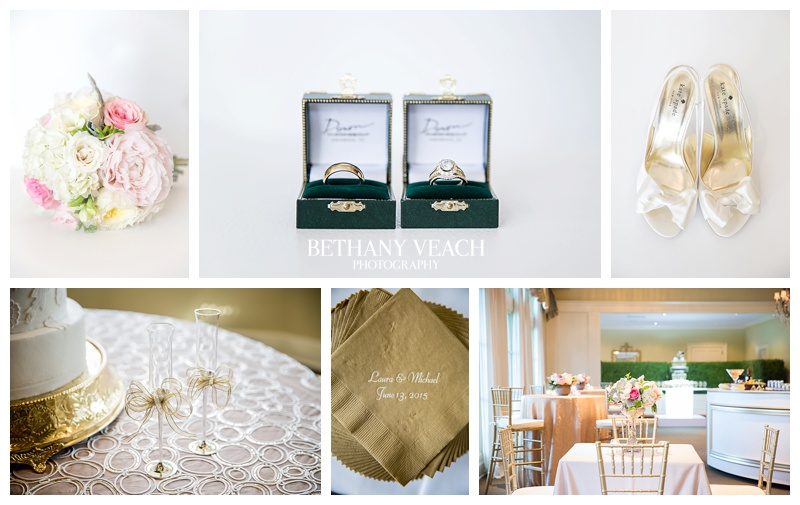 Blush pink and gold wedding details with a hint of rich green.