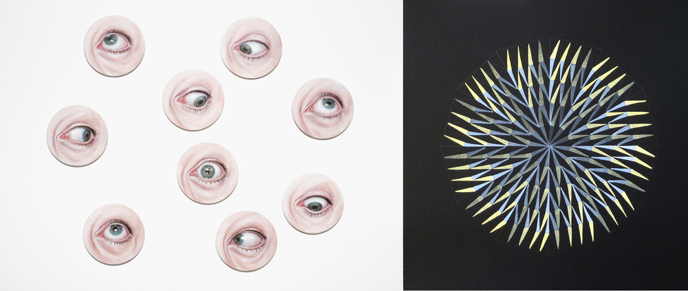 Left:  A private view  (2009) and right:  Let us calculate  (detail, 2014)