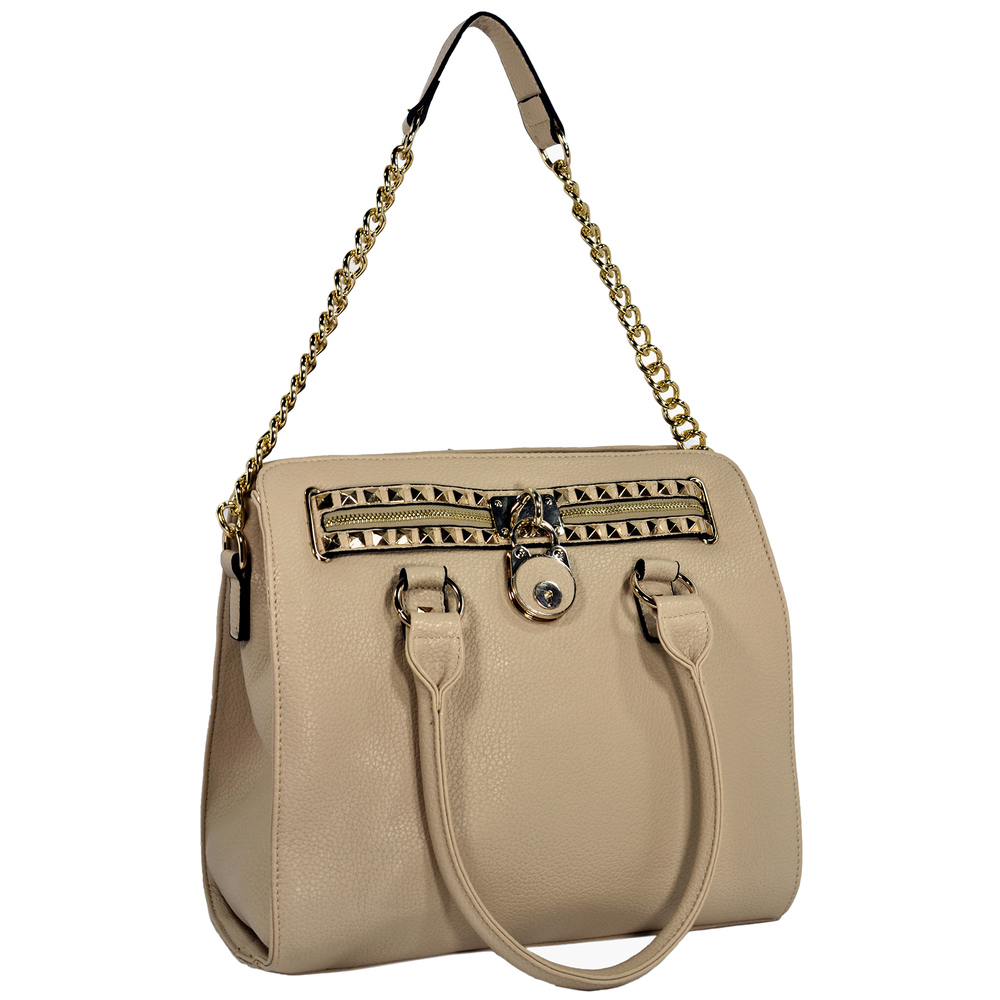 HALEY Beige Bowler Style Handbag Handle