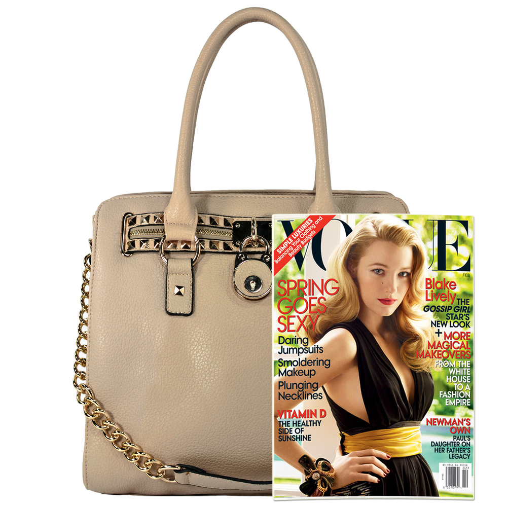 HALEY Beige Bowler Style Handbag Size