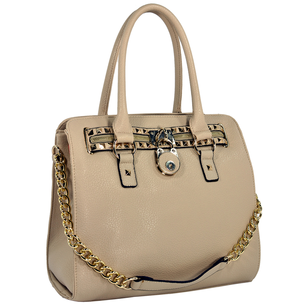 HALEY Beige Bowler Style Handbag Main