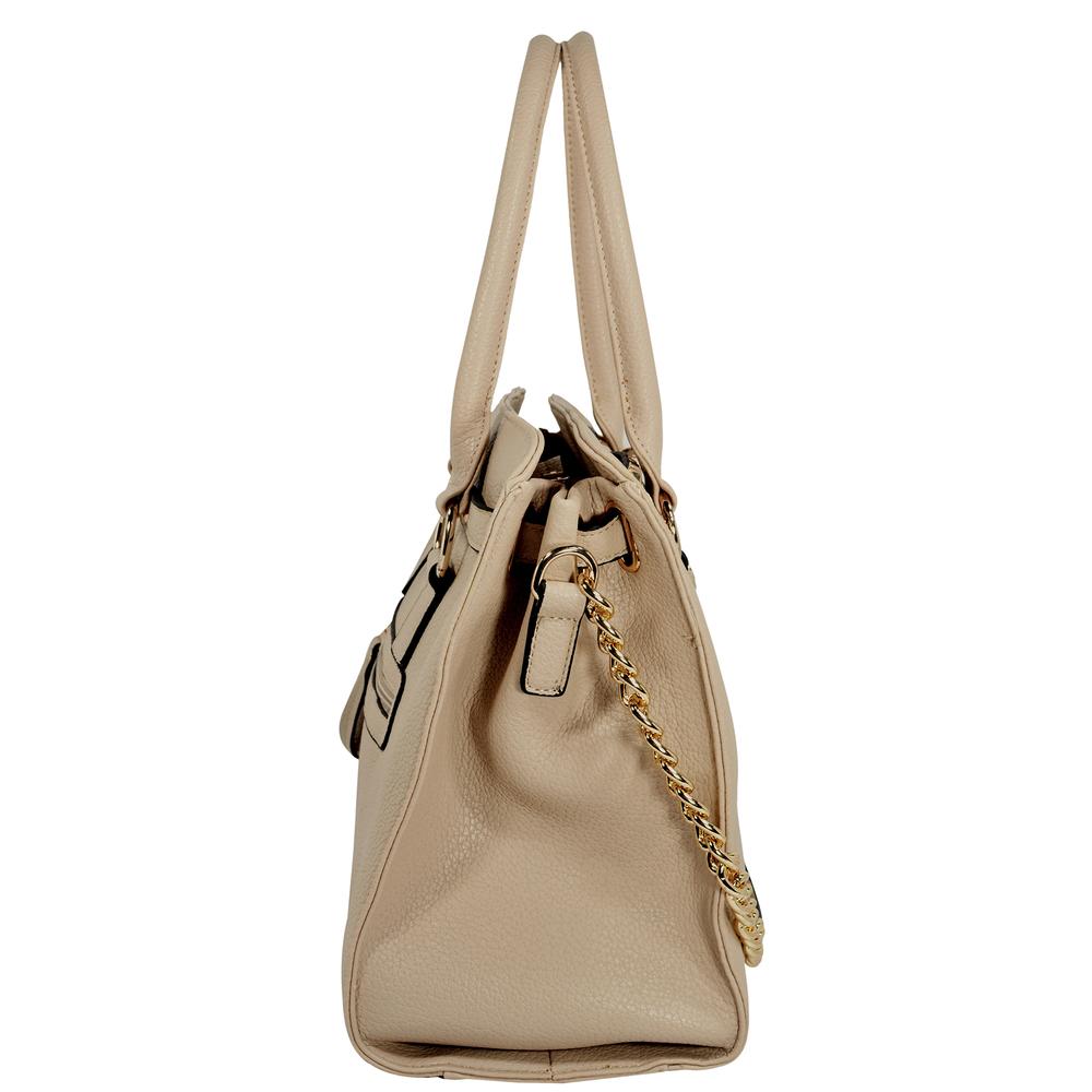 HALEY Beige Bowler Style Handbag Side
