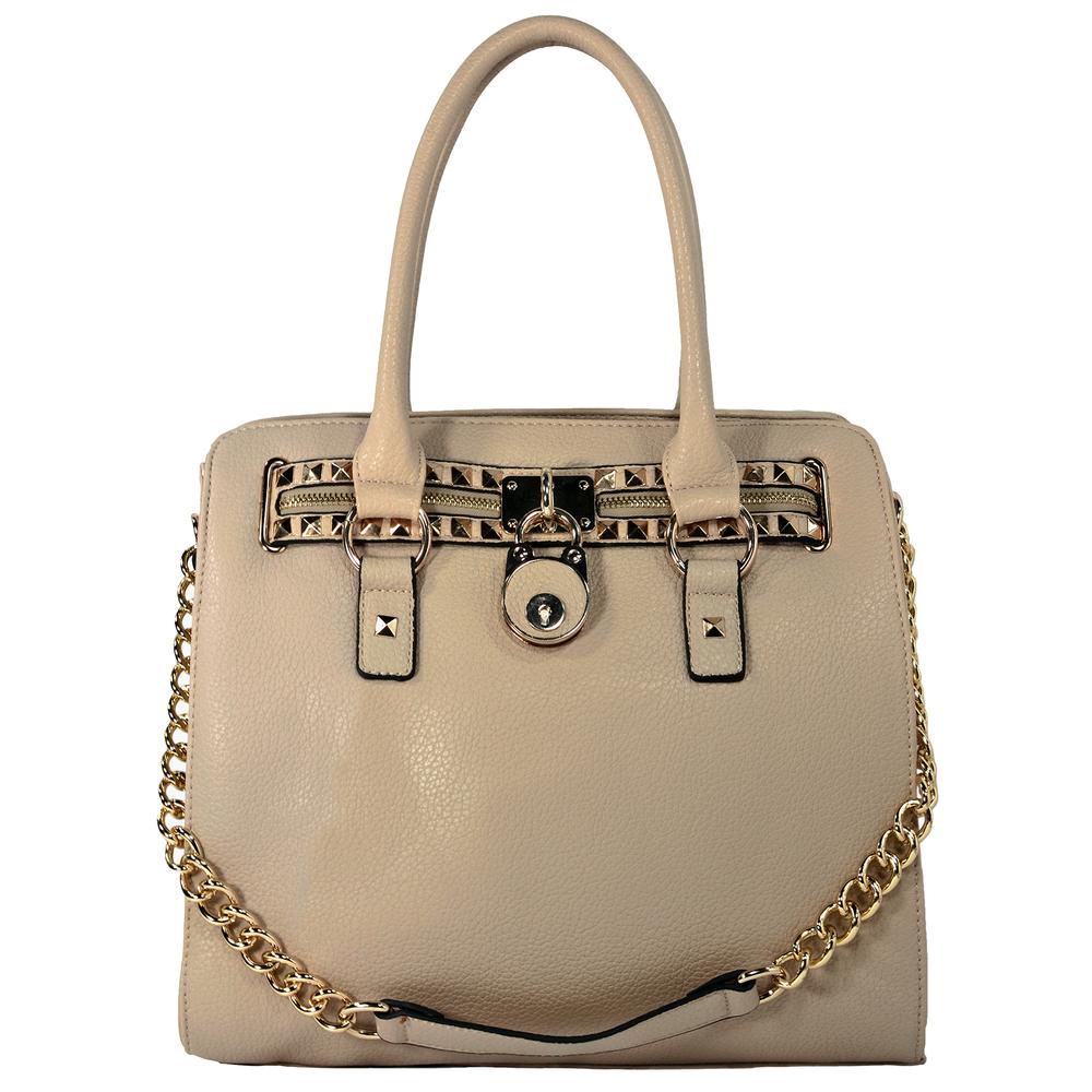 HALEY Beige Bowler Style Handbag Front