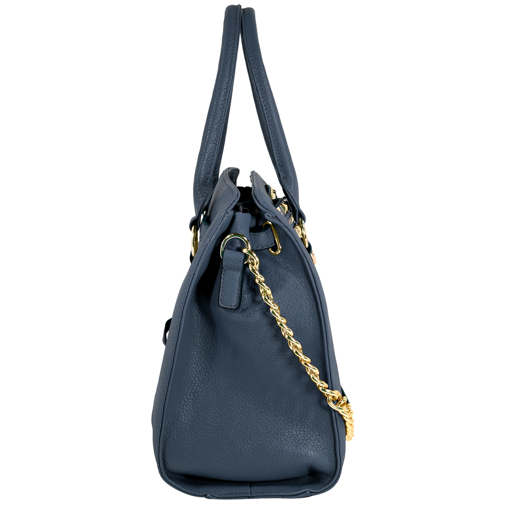 HALEY Dark Blue Bowler Style Handbag Side