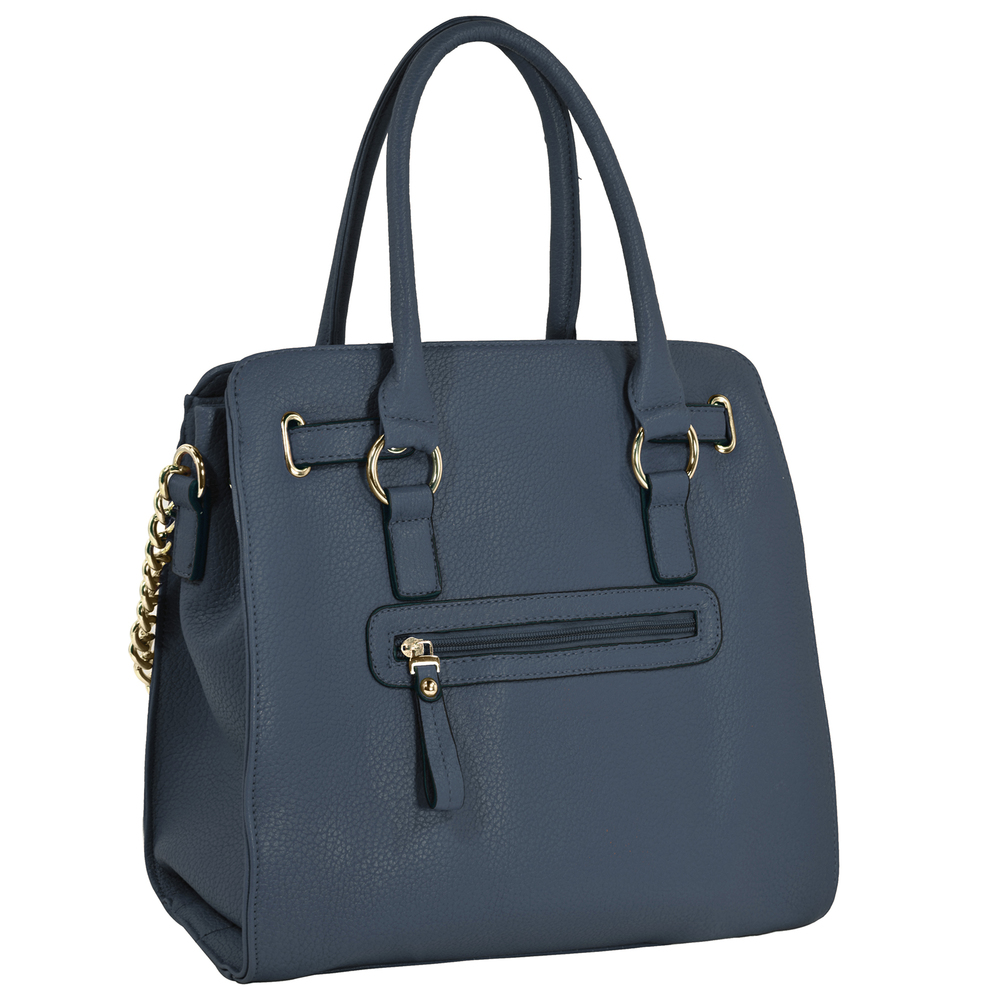 HALEY Dark Blue Bowler Style Handbag back