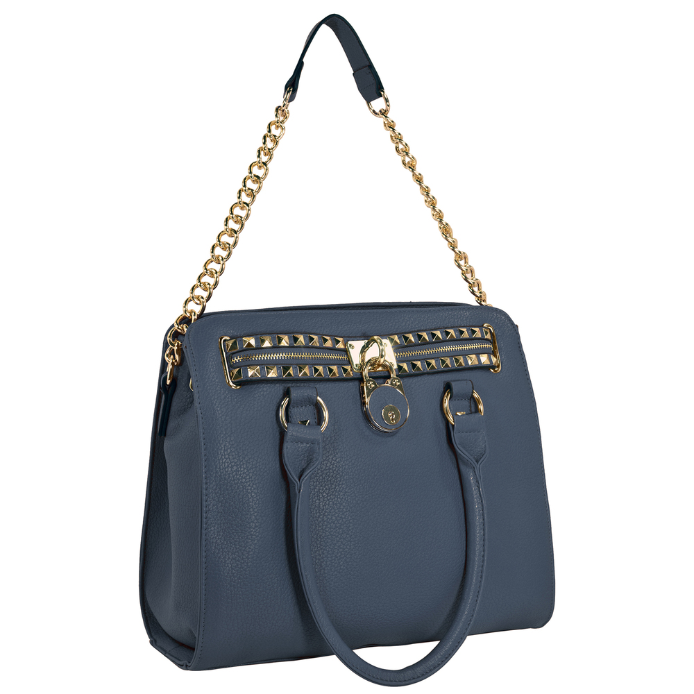 HALEY Dark Blue Bowler Style Handbag Handle